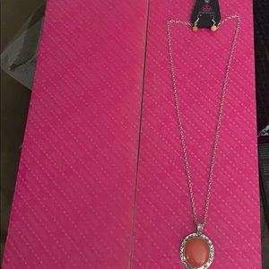 NWT Paparazzi Stone Aura Orange Necklace/Earrings.